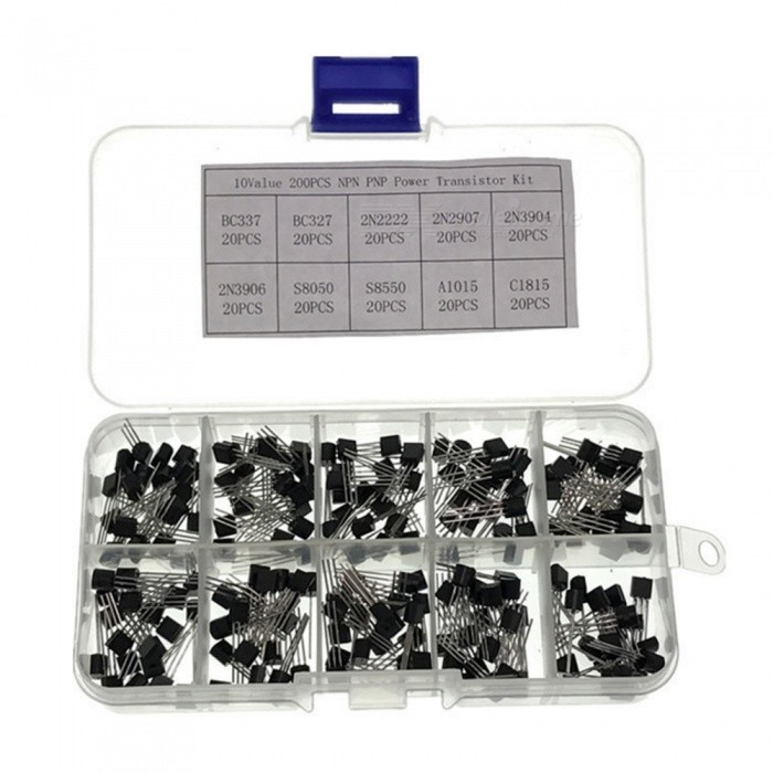 ZHAOYAO Electronic Kits 10Values x20 200pcs TO-92 Transistor Assortment Assorted Kit Box BC337 BC547 LCD DIY Tool Kit