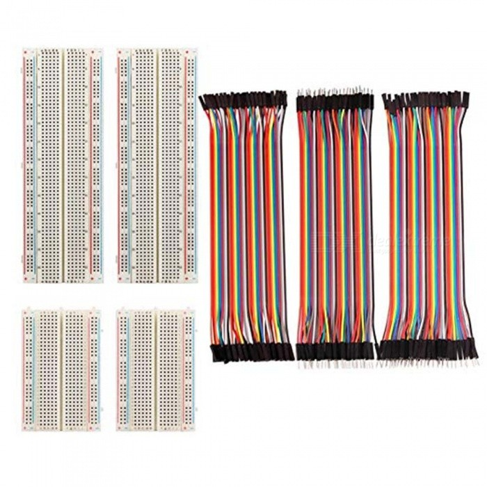 ZHAOYAO 4Pcs Breadboards Kit with 120Pcs Jumper Wires for Arduino Proto Shield Circboard Prototyping