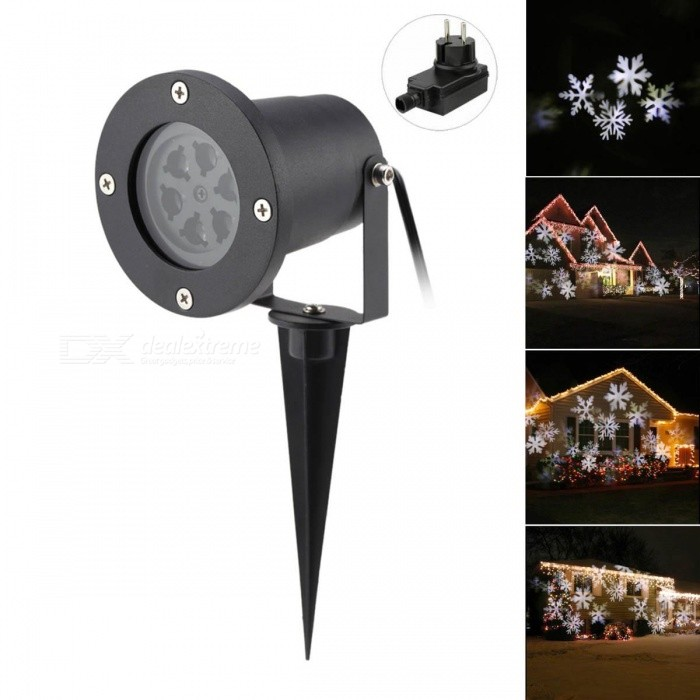 4W 6-LED Snowflake Projector Lamp Light Neutral White Light for Christmas Party - EU Plug