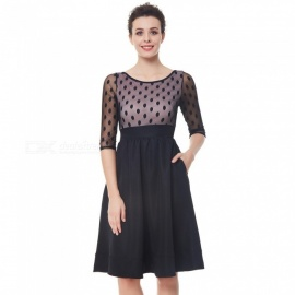Womens Autumn High-rise Dotted Dress With Round Neckline,Slim Fit Lace Dress With Elbow-length Sleeves Black/S