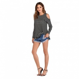 Womens Round Neck Long-sleeved Striped T-shirt, Casual Long Striped Off-the-shoulder Top For Women Multi/s