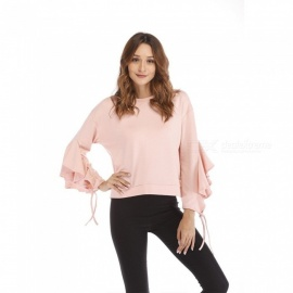 Womens Round Neck Long-sleeved Pullover With Ruffle Details, Casual Crop Top With Flare Sleeves For Women Pink/s