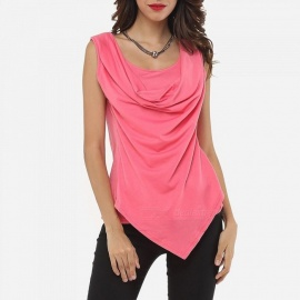 Womens Casual Ruffled Tank Top With Asymmetric Hem, Slim Vest With Front Ruching For Women Pink/S