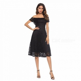 Womens Strapless Dress With Front Lace Detail At Neckline, Off-the-shoulder Dress With Openwork Details Black/S