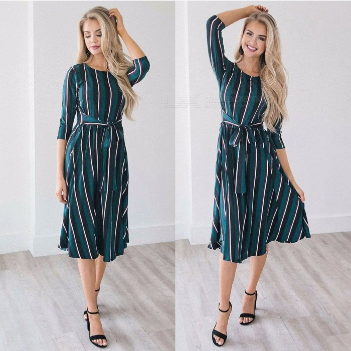 WQ077 Womens Round Neck Striped Bow Dress, Belted Dress With Bow For Women Black Green/S