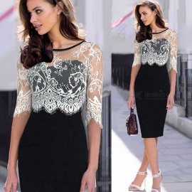 Womens Round Neck Elbow-length Sleeve Lace Dress, Contrasting Lace Dress With Openwork Details Black/S