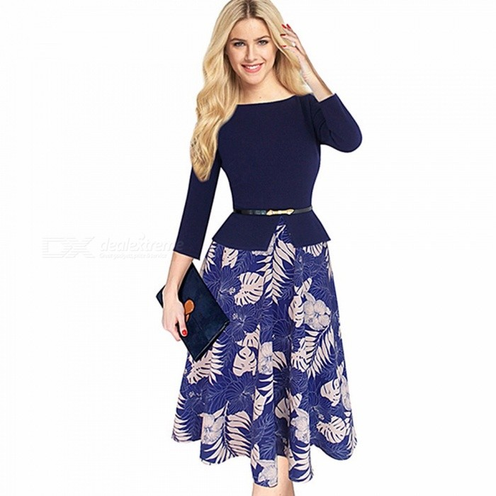 Round Neck Long Sleeve Print Dress With Belt, Floral Print Slim Fit Belted Dress For Women Blue/S