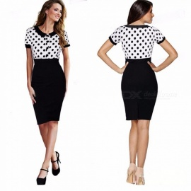 Womens Short-sleeved Dotted Dress With Polo Neckline, Classic Dotted Pencil Dress With Back Vent For Women White/S