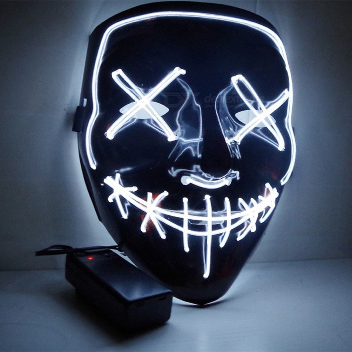Halloween Double-line Stitching Horror Mask Ball Party Bright LED Glow Mask (W/2*AA)