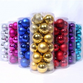 24Pcs 3cm Christmas Tree Ornament Christmas Balls, Hanging Bling Ball, Party Styrofoam Balls For Weeding Decoration Gold