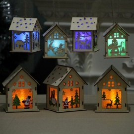 Festival LED Light Wood House, Christmas Tree Hanging Ornament, Xmas Gift Wedding Decoration (S / Random Style) Random Style