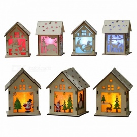 Festival LED Light Wood House, Christmas Tree Hanging Ornament, Holiday Nice Xmas Gift Wedding Decoration (L) White
