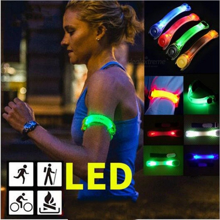 LED Light Up Bracelet Wristband, Reflective Safety Warning Arm Wrist Band Running Lamp For Outdoor Night Activities Blue