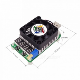 RD LD25 Electronic Load Resistor, USB Discharge Battery Test LED Display Fan Adjustable Current Voltage Meter 25W Black