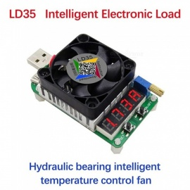 RD LD35 Electronic Load Resistor, USB Discharge Battery Test LED Display Fan Adjustable Current Voltage Meter 35W Black