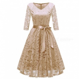 Womens Round Neck Bow Dress With Lace Hem, Lace Dress With Matching Openwork Details And Bow Beige/S