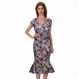 Europe And America Summer Dress Floral Print Vintage Square Collar Mermaid Dresses For Women Multi/S