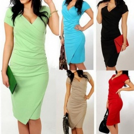 Europe And America Summer Dress V-Neck Candy Color Irregular Sheath Club Dresses For Women Black/S