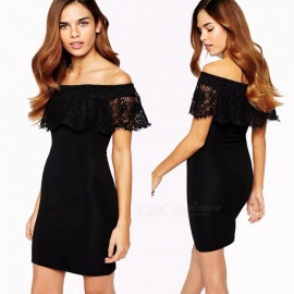 New Fashion Dress Slash Neck Off The Shoulder Lace Office Lady Pencil Dresses For Women Black/S