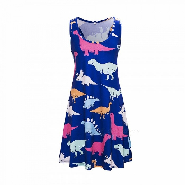 Europe And America Summer Dress Sleeveless Animal Print Casual O-Neck Dresses For Women Blue/S