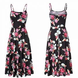 New Summer Dress Spaghetti Strap Floral Print Chiffon Sleeveless Maxi Dresses For Women Black/S