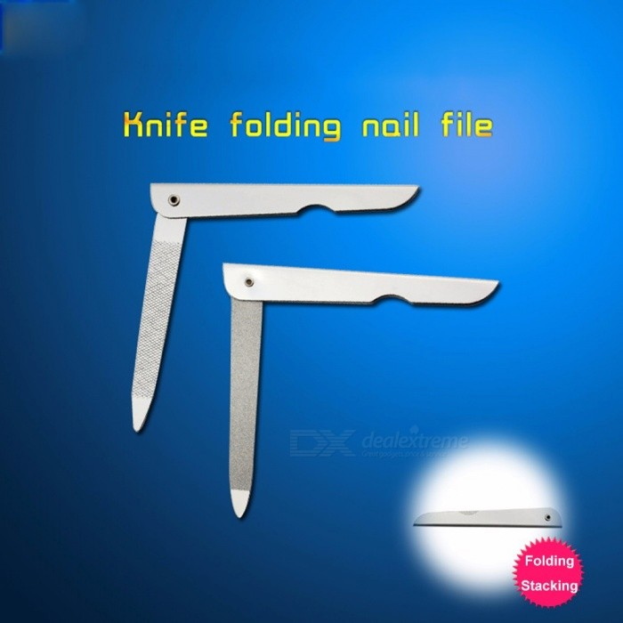 1 Pcs 2 Sides Nail Files Metal Fold Grinding Stainless Steel Foldable Portable Manicure Buffer Pedicure Nail Art Tool