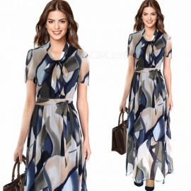 Europe And America Summer Maxi Dress Vintage Print O-Neck Chiffon Dresses With Sashes For Women Sky Blue/S