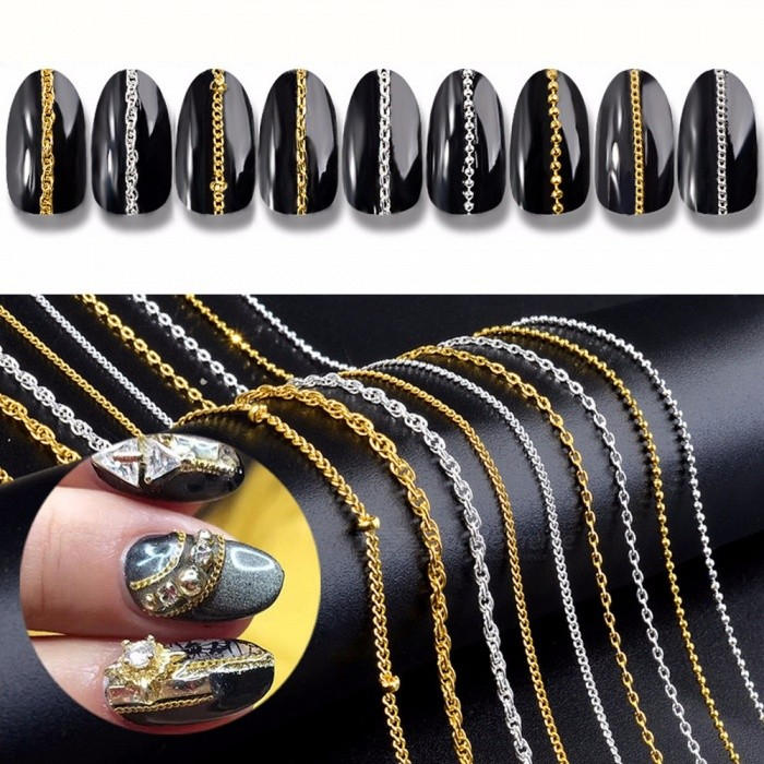 Japanese Nail Metal Steel Ball Chain Punk Style DIY Nail Art Decoration Tools White