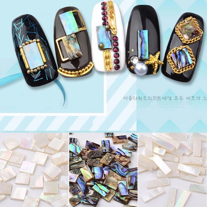 10 PCS Japanese Nail Art Rhinestones Abalone Slice Colorful Strip Shell Stone Nail Decoration White