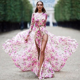 Bohemian Dress Sexy High Slit Floral Print Long Sleeve Maxi Dresses For Women Pink/S