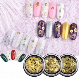Japanese Nail Glitter Sequins Jewelry Mixed Design Gold Christmas Leaves Nail Art Decoration 120PCS Yellow