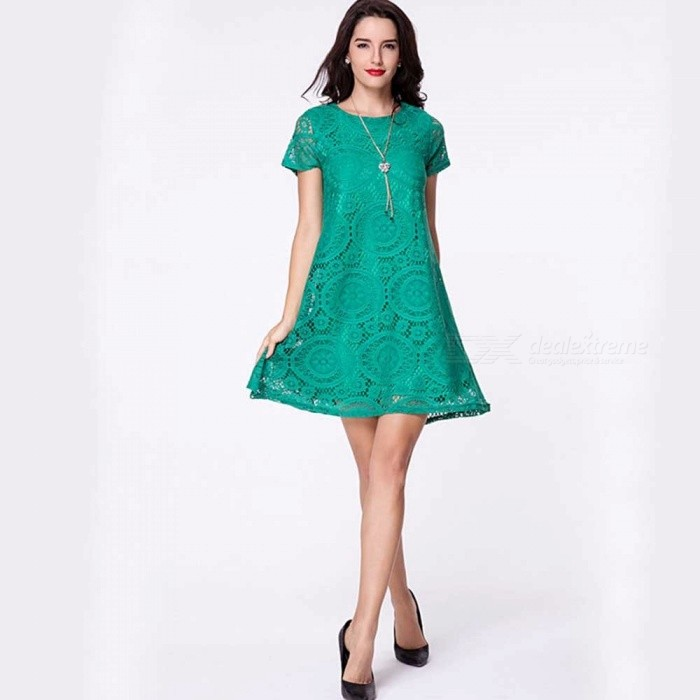 Europe And America Summer Dress Elegant Temperament Solid Color Lace O-Neck Dresses For Women Green/S