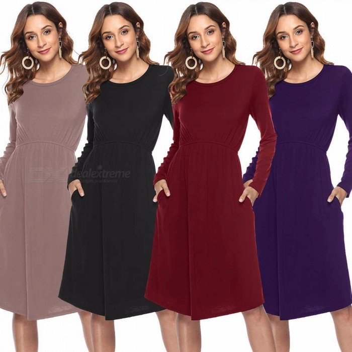 Europe And America New Autumn Dress O-Neck Solid Color A-Line Casual Dresses With Pocket For Women Black/S