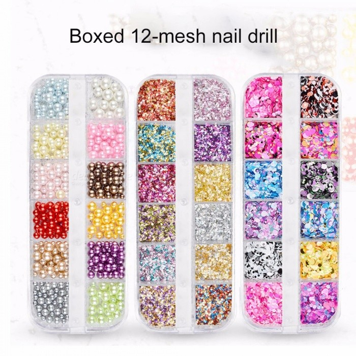 Nail Glitter Sequins Dust Mixed 12 Grids Nail Art Jewelry Complete Set Polish Flakes Decorations Green