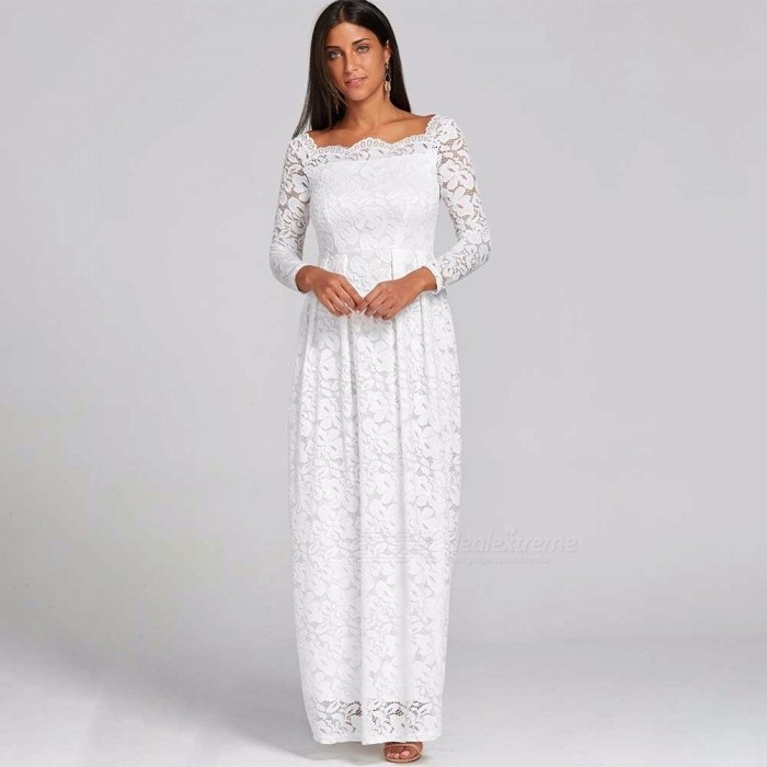 Europe And America Maxi Dress Lace Slash Neck Long Sleeve Dresses For Women White/S