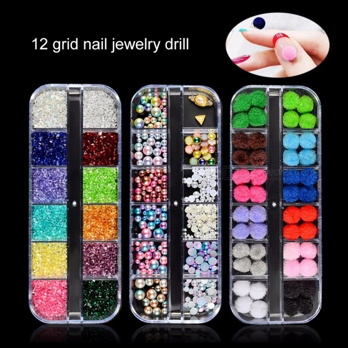 Nail Art Decoration Tools Mixed Jewelry Paillette Rhombus Rhinestones Nail Accessories White
