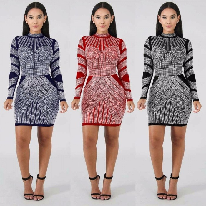 Autumn Winter Turtleneck Dress Print Long Sleeve Club Pencil Mini Dresses For Women Black/S