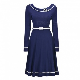 Europe And America Autumn Dress O-Neck Casual Long Sleeve Dresses With Sashes For Women Blue/S