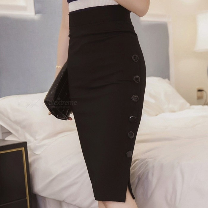 New Large Size Sexy Skirt Solid Color Button Straight Formal Slim Skirts For Women Black/S