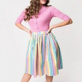 Europe And America Casual Mini Ball Gown Skirts Colorful Striped Dresses For Women Multi/S