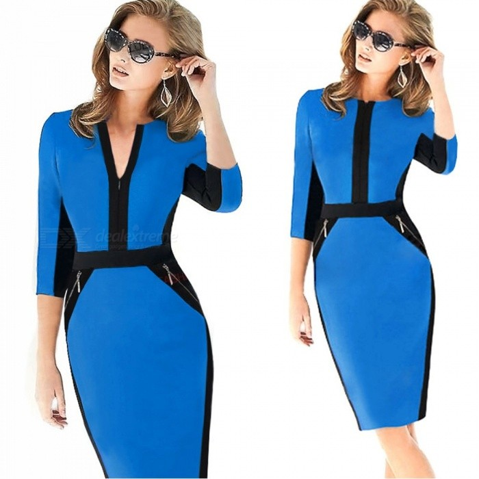 Europe And America Dress V-Neck Office Lady Slim Zipper Patchwork Pencil Dresses For Women Multi/XXL