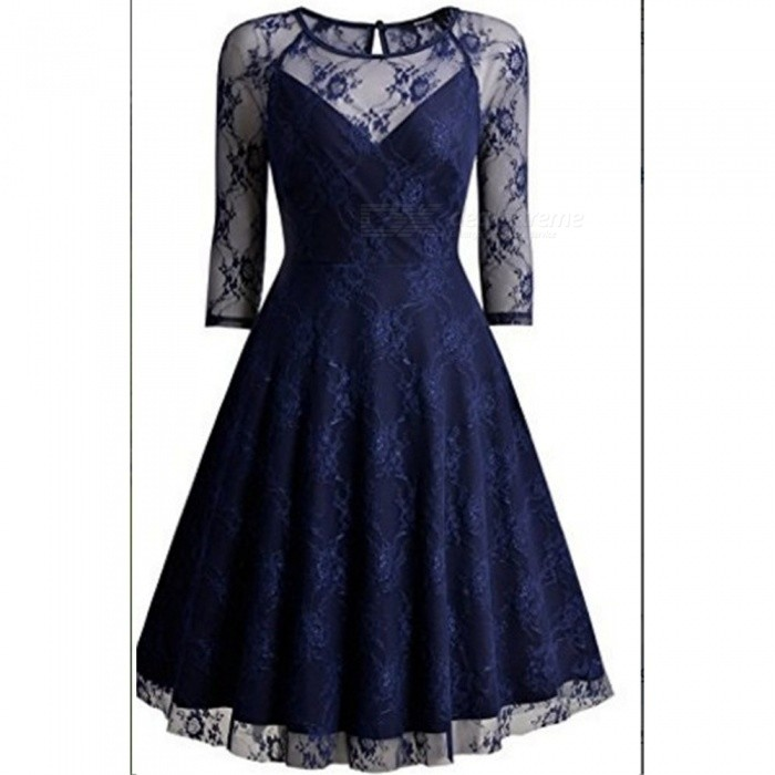 Europe And America Summer Black Lace Dress V-Neck Patchwork Dresses For Women Navy Blue/XXL