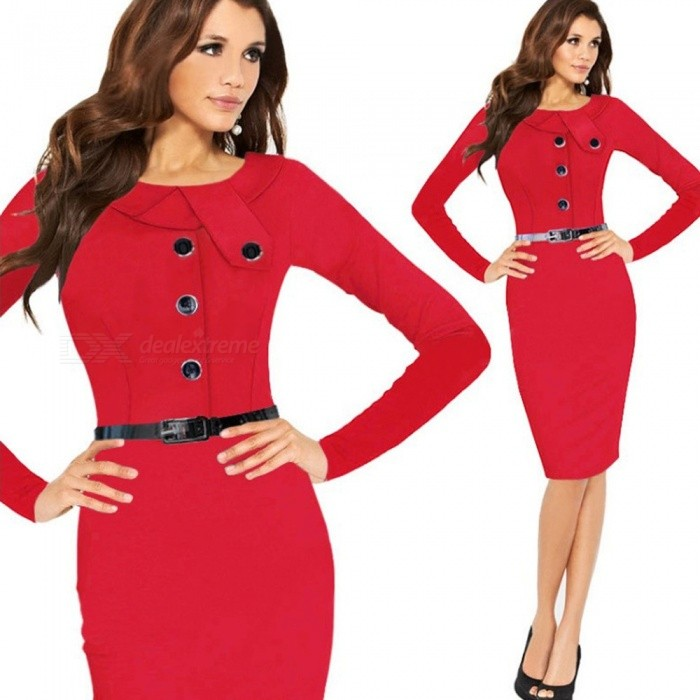 Europe And America Winter Dress Long Sleeve Asymmetrical Office Lady Pencil Dresses With Sashes For Women Multi/XXL