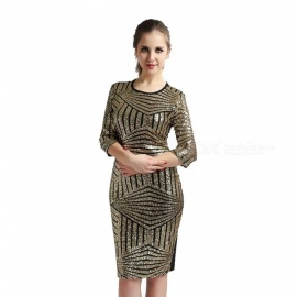 Sexy Club Dress Sheath Sequined Mini Patchwork Fashion Grenadine Dresses For Women Gold/M