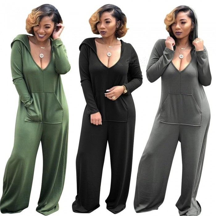 Womens V-neck Long Sleeve Jumpsuit With Hood, Causal Loose-fitting One-piece Hooded Sports Clothes Black/S/170