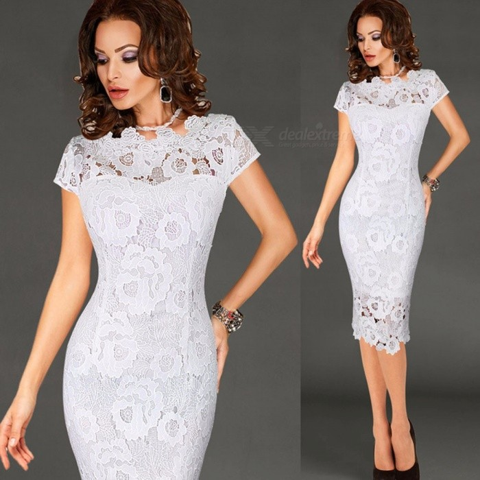 Sexy Lace Slim Tight Knee-Length Pencil Dress For Lady Women Black/S