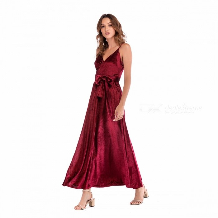 Sexy Pleuche V Neck Sling Strap Backless Sleeveless Dress For Lady Women Burgundy/S