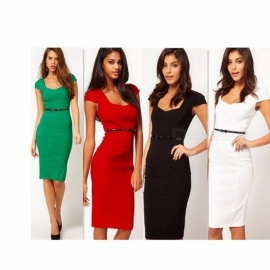 Fashion Slim Square Collar Middle-rise Short Sleeve Knee-Length Dress For Lady Women Black/S