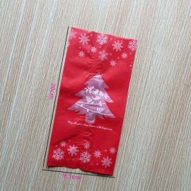 50Pcs Candy Bags, Christmas Tree Decoration Red Green Snow Gift Bag Holder For Happy New Year Christmas Eve M/Red