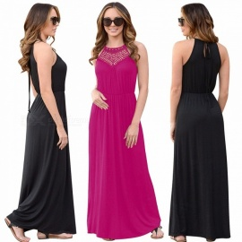 AM232 Summer Halter Hollow-Out Lace Stitching Sleeveless Long Dress For Women Black/S
